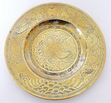 """Vtg SOLID BRASS Chinese XUANDE Engraved Pearl DRAGON 10"""" Dish BOWL Signed Base"""