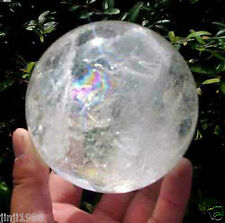 NATURAL RAINBOW CLEAR QUARTZ CRYSTAL SPHERE BALL HEALING GEMSTONE 50mm