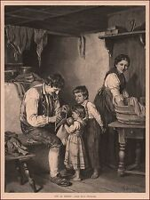 Father Tries to Fix Daughters Doll, antique engraving, original, 1877