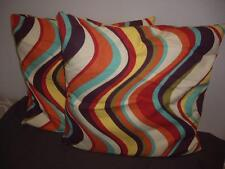 """Lot of 2 Pier 1 Imports Multi Color Pattern Square Accent Pillows (18 by 18"""")"""