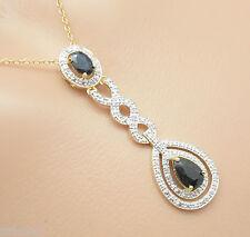 SAPHIR Diamant   Anhänger mit Kette 45 cm 925 Silber Vergoldet Sterlingsilber