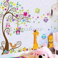 Animal Owls Lion Giraffe Scroll Tree Children Wall Sticker Decal Home Art Decor