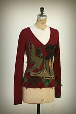Raw 7 Cashmere Argyle Sweater Anarchist Bird Motorcycle Wearable Art Small