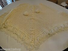 Vintage hand Made by Grandma in 70's shawl sweater poncho knit yarn women's RARE