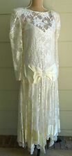 VINTAGE Pat Richards 20s 30s Downton Abby Style Lace Formal Prom Wedding Dress S