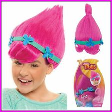 Trolls Film Princess Poppy Pink Wig Hair Flower Headband Girls Fringe Colourful