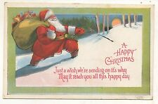 A Happy Christmas SANTA CLAUS with Sack of Toys in Forest Vintage Postcard