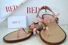 RED VALENTINO Shoes T-Strap Italy Sandels 35 Flowers Rose Pink Bargain Rare