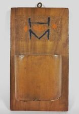 Vintage 1929 MATCH HOLDER Striker Wooden Pyrography Folk Art Plaque