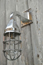 Stylish Miami Art Deco polished metal wall light caged bulkhead lamp nautical