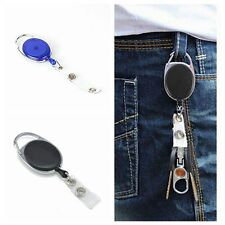 Metal Retractable Reel Recoil ID Badge Tag Key Card Holder Lanyard Belt Clip New