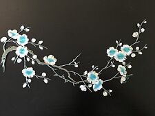 Sew on & iron on  patches(gray& green plum flower )