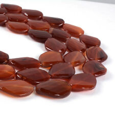 1090B 30mm Faceted red agate loose beads 16""