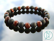 Red Tigers Eye Onyx Matt Natural Gemstone Bracelet Elasticated 7-8'' Healing