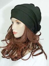 Effortlessly chic lagenlook black sweatshirt jersey slouchy beanie hat ( chemo)