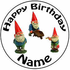 "Personalised Birthday Garden Gnomes Round 8"" Easy Precut Icing Cake Topper"