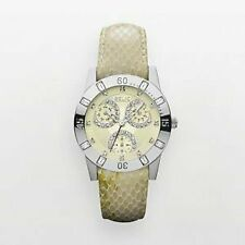 NIB RELIC by FOSSIL Beth Silver Tone Crystal Beige Leather Watch FREE SHIP