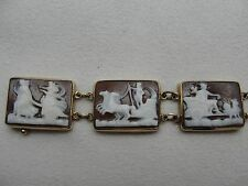 Estate 14K Gold Roman Gods 7 Days Of The Week Carnelian Shell Cameo Bracelet