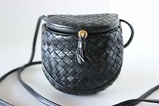 Vintage BOTTEGA VENETA INTRECCIATO Black MINI CREEL X BODY BAG HANDBAG PURSE
