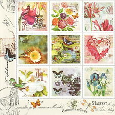4x Single Table Party Paper Napkins for Decoupage Decopatch Craft Vintage Stamps