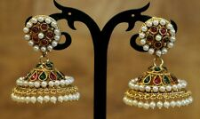 NewIndian Pakistani Ethnic Bollywood Gold Plated Green Pink Pearl Jhumki Earring