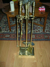 #3 OF 3 WILLIAMSBURG VIRGINIA METALCRAFTERS 6 PC ALL BRASS FIREPLACE TOOLS