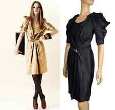 JUST CAVALLI BY ROBERTO CAVALLI BLACK SATIN DRESS WITH BELT 44 / 8