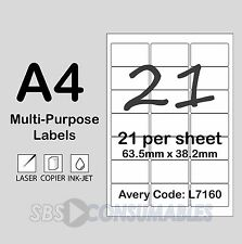 21 Per Sheet White Self-Adhesive Labels L7160. Shipping/Posting - 25 Sheets, A4.