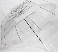 Schöner Regenschirm transparent , Automatik mit  Rand in weiß , Dschungelcamp