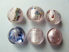 6 lampwork silver foil glass mixed 15mm puff flat round beads pale pink