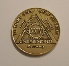 aa bronze alcoholics anonymous 24 year sobriety chip coin token medallion