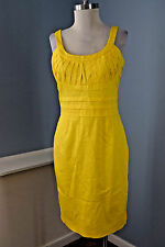 Calvin Klein 8 M Bright Yellow Sheath Career Cocktail Dress Stretch excellent