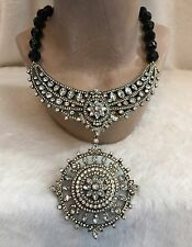 "HEIDI DAUS ""FRENCH TWIST"" Black Beaded Crystal Bib Drop Necklace, Detachable Pin"