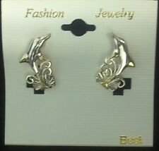 NEW SILVER and GOLD TONE DOLPHIN FASHION JEWELRY EARRINGS