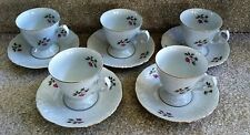 5 Wawel China Pink Flower Cups/Saucers Gold Rim Made in Poland Pattern WAV49