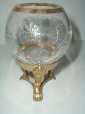 Brass & Glass Round Crystal Rose Bowl Ornate Pedestal Votive Candle Holder/s