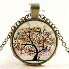 Vintage Music tree of life Cabochon Glass Bronze Chain Pendant Necklace#DA4