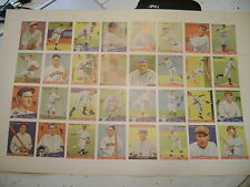 (32) card uncut sheet 3 Babe Ruth Lou Gehrig Ty Cobb Red Grange many more stars