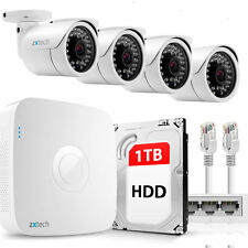 4 Full HD 2MP Compacted IP Camera & NVR PoE DIY Free P2P UK CCTV Kit 1TB OE44DA1