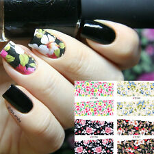 4 Patterns Flower Water Decals Elegant Floral Nail Art Full Transfers Stickers