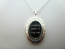 "MARY POPPINS PRACTICALLY PERFECT IN EVERY WAY SILVER LOCKET 18"" NECKLACE PENDANT"