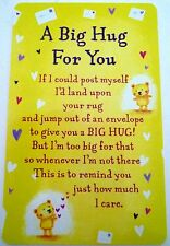 "HEARTWARMER KEEPSAKE MESSAGE CARD ""A BIG HUG FOR YOU"" LOVE POEM VALENTINE'S DAY"