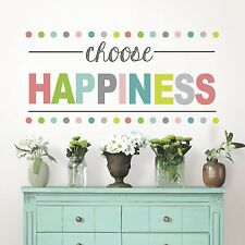 CHOOSE HAPPINESS Quote Wall Decals POLKA DOT Room Decor Stickers Saying Phrase