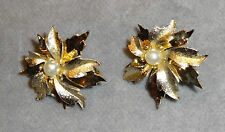 Vintage Emmons Matte & Smooth Tiered Goldtone Leaves~Center Pearl Clip Earrings