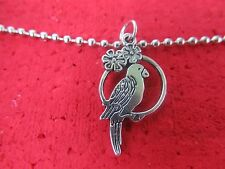 Tropical parrot pendant necklace on dog tag chain