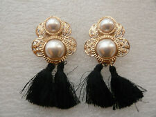 ANTHROPOLOGIE  2 WHITE STONES BLACK TASSELS DROP EARRINGS NEW