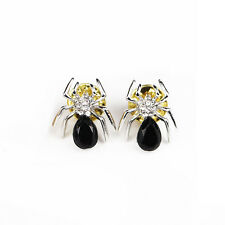 Black Rhinestone Crystal Spider Lapel Tie Collar Pin Brooch Fashion Jewelery