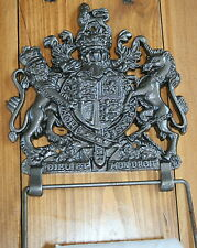 ENGLISH CREST Toilet Roll Holder (Lion Unicorn) Coat of Arms Heraldic Cast Iron