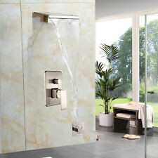 NEW Brushed Nickel Waterfall Shower Mixers Single Handle Wall Mount W/Tub Spout