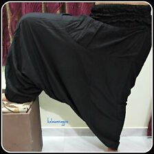 INDIAN ALI BABA HAREM YOGA UNISEX BLACK HAREM PANTS TROUSER GYPSY BOHO HIPPIE